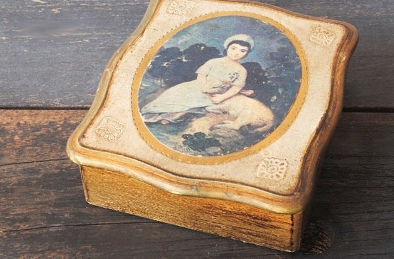Vintage Florentine Box, Victorian Portrait Girl with Lamb, Hinged Wood & Gold Accents