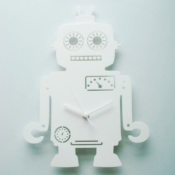 Andy the Robot white acrylic clock