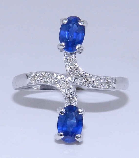 Diamond and Sapphire Ring 14K White Gold Ring Bypass Fashion Right Hand Ring Size 7.25