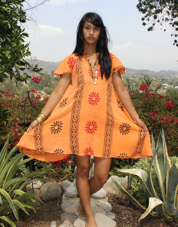 Orange Sunset One of a Kind Vintage Indian Cotton Mini Dress Angel Sleeves