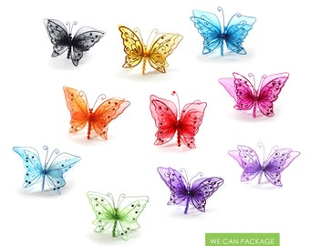 "6"" Glitter Butterfly with Clip for Floral Decorations, Craft Projects, and Embellishment"