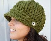 Crochet Newsboy Hat- Olive Green