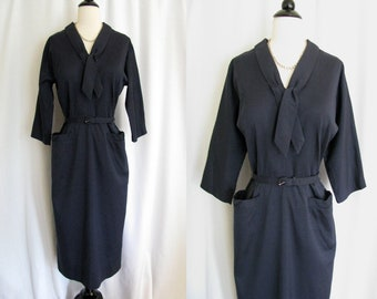 Vintage 1950s Dark Blue / Navy Dress - Forever Young by Puritan, Cotton Day Dress - Medium