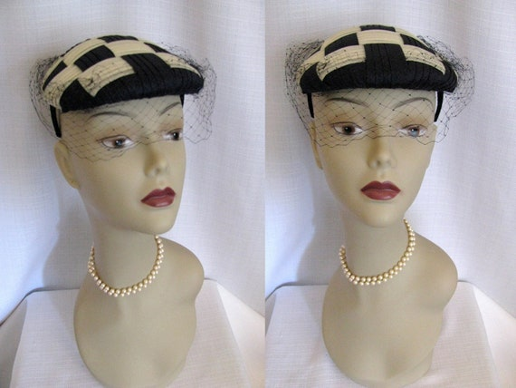 RESERVED - Vintage 1950s - 60s Daytons Hat - Checked Cream and Blue Black - Kentucky Derby Hat
