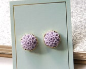 Summer Gold Flower Stud Earrings - Purple