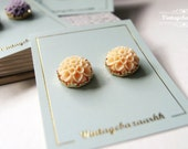 Summer Gold Flower Stud Earrings - Orange