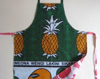 Kids Apron, Kanga - Pineapple and Polkadots, Reversible Apron, Medium