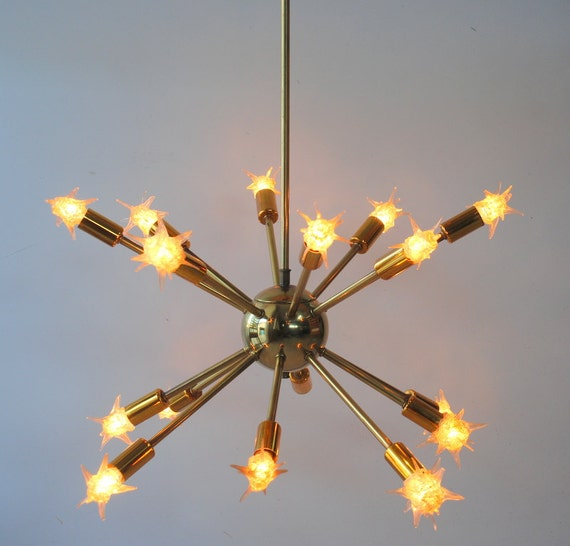 RESERVED FOR MELISSA Vintage Original Sputnik 16 Arm Chandelier