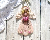 Victorian Pink Rose Garden Bouquet Angel Wall Hanging / Shabby  Rose Cottage Decor / Gift Idea
