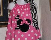 Custom made pillowcase dres minnie mouse zebra pink polka dot 3mos,6mos,9mos,12mos,18mos,24mos,2t,3t,4t,5t,6