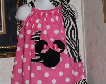 Custom made pillowcase dres minnie mouse zebra pink polka dot 3mos,6mos,9mos,12mos,18mos,24mos,2t,3t,4t,5t,6