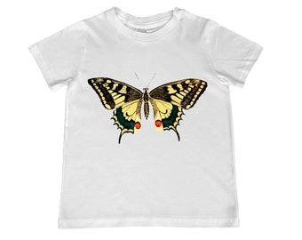 Vintage Yellow Swallowtail Butterfly illustration TShirt - Infant, toddler, youth sizes - personalization available