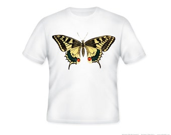 Vintage Yellow Swallowtail Butterfly Illustration Adult Tshirt  -- adult sizes S-3XL
