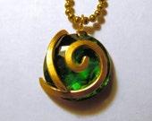 Zelda Necklace Kokiri's Forest Emerald, Ball Chain