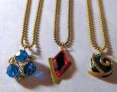 Zelda Necklace Set, Spiritual Stone Necklace Set, Gold Colored Ball Chain, All Three Spiritual Stones