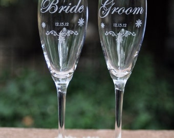 Winter Wedding Champagne Glasses - Snowflakes on Crystal Flutes