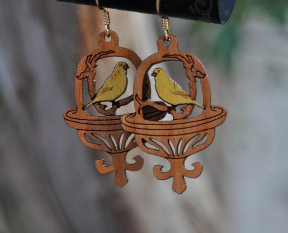 Canary Bird Wood Inlay Earrings