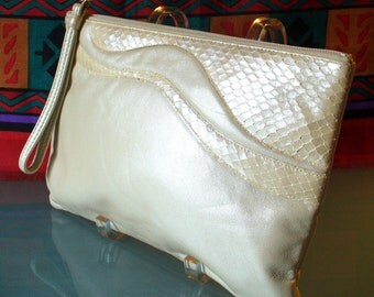 Vintage Ruth Saltz Pearlescent Bone Leather & Snakeskin Clutch Purse