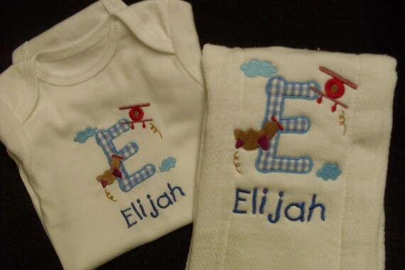 Boys Appliqued Letter with Embroidery Airplanes and name Onesies and Burp Cloth.  Made to order