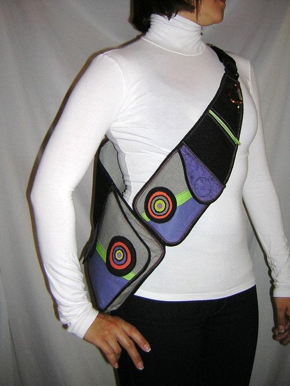 Bike Bag utility Body Purse biking hiking riding tote crossbody Travel Pocket mini backpack mixed fabrics in Black Gray Purple Lime circles