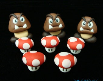 Goombas and Mushrooms From Mario Bros. Cake Toppers