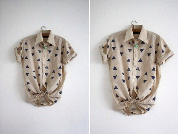 RESERVED FOR nyusaf // Blouse // blue / beige // random triangles //
