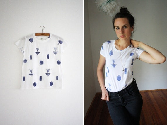 Shirt // white / blue // random geometry
