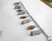 Blue and Tan glass bead bracelet charm style