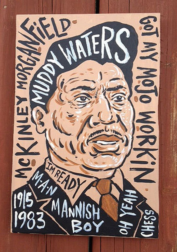 """11""""x7.5"""" blues music folk art painting of Muddy Waters by Grego from mojohand.com - thick wood - ready to hang"""
