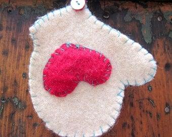 Valentine Hearts  Vintage Wool Mitten Ornament