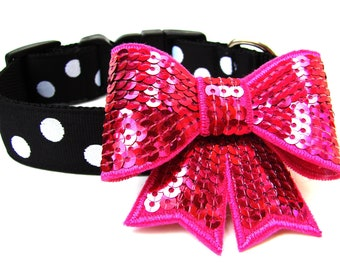 "Bow Dog Collar 1"" Black and White Polka Dot Dog Collar With Bow Attachment Pink Silver Black"