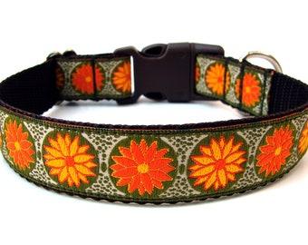 """Fall Dog Collar 1"""" Fall Flower Dog Collar SIZE SMALL"""