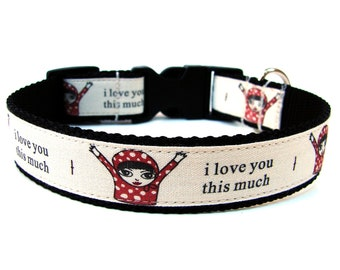 Red Dog Collar I Love You This Much matching flowers available
