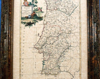 Portugal Map Print of a 1775 Map on Parchment Paper