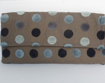 Handmade Clutch Clutches Bag Blue Polka Dot Velvet