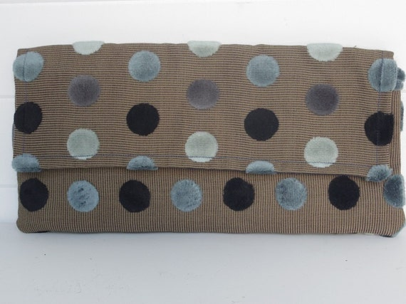 Handmade Clutch Clutches Bag Blue Polka Dot Velvet