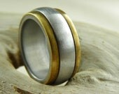 Vintage Ring -  in Solid Aluminum with Brass Overlay - Size 8