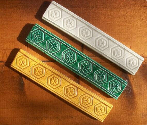 """Ceramic Border Tile -- 1"""" x 6"""" Hexagon Border -- Made to Order"""
