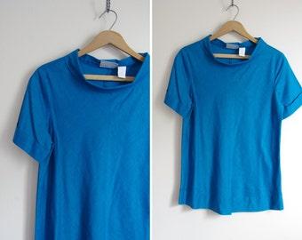 CERULEAN blue MOD foldover mock neck boxy tee shirt top S M