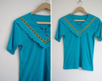 teal girly ruffle BIB native american motif ribbon western top shirt S