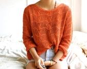 orange crochet knit jumper