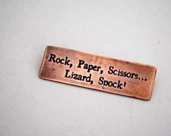 Rock Paper Scissors Lizard Spock - Copper Pin