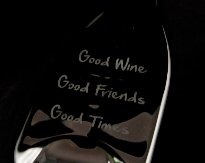 Melted Bottle with Hanger that is etched - Good Wine, Good Friends, Good Times