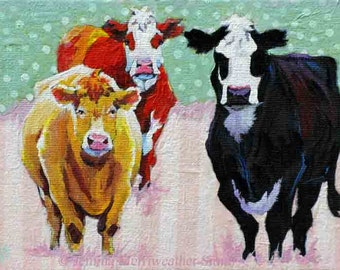 Artist Trading Card, Cow Painting ACEO Print, ATC Cows & Stripes, Collectable Cow Girl Art Card, Mini Cow Art Print by Jemmas Gems