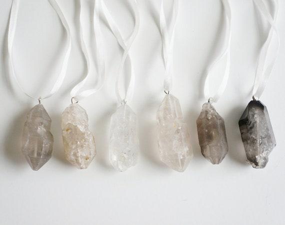 Crystal Quartz Ornaments, Smokey, Set of 6- Free Shipping