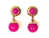 Reserved for Sabrina - 60s Mod Pink Chunky Lucite Earrings, Mad Men Clip On