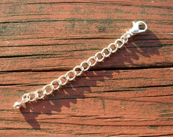 2 Inch Silver Extender Chain For Lobster Clasp Necklaces Silver Plated Necklace Extender FREE SHIPPING
