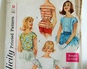 Early 1960s Vintage Simplicity Pattern Juniors Tops