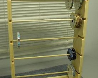 Ribbon rack organizer holds 125 spools 4 and 5 inch natural