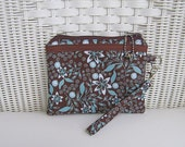 iPhone Wristlet / Brown & Turquoise  / Womens Wristlet / Padded Pouch